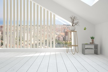White empty room with urban landscape in window. Scandinavian interior design. 3D illustration