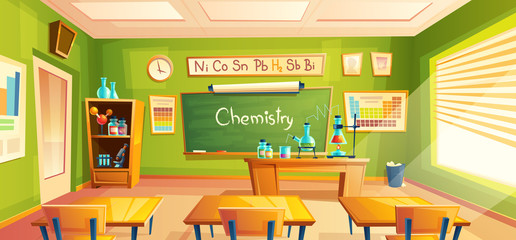 Vector chemistry room, school laboratory, classroom interior. Educational concept, chemical experiments, cabinet furniture, blackboard, desks, school supplies. Illustration for advertising web