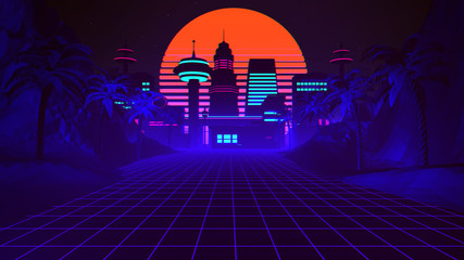 80s Retro Synthwave Background 3D Illustration Fototapete