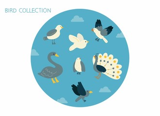 Cute Bird Collection blue color illustration