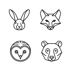 Monoline Animal Faces