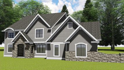 3D Illustration of a Modern Craftsman House