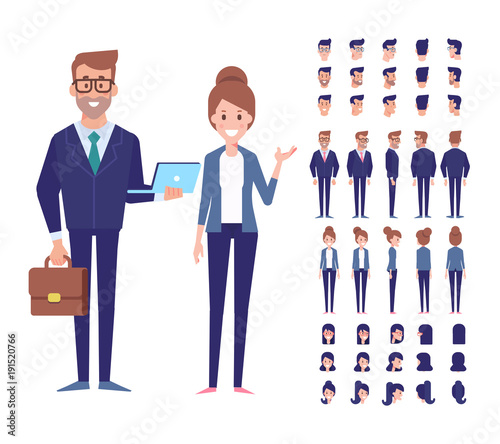 Vector character set for animation Business people - man and woman