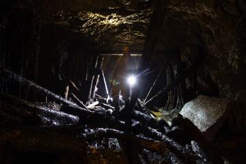 Underground abandoned ore mine shaft tunnel gallery