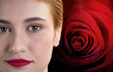 Close up beautiful woman face on red rose background