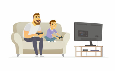 Father and son playing video games - cartoon people characters illustration
