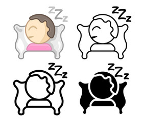 Set Icons of a sleeping person on pillow. Simple, modern flat and thin line vector illustration for mobile app, website or desktop app.