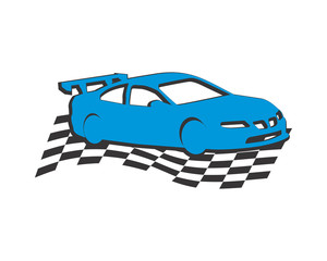 racing car flag automotive vehicle dealer drive image vector icon