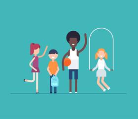 Children on PE lesson - modern flat design style isolated illustration