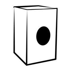 Isolated cajon outline. Musical instrument