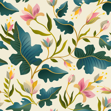 Seamless pattern with beautiful fantastic plants. Vector magic background design.