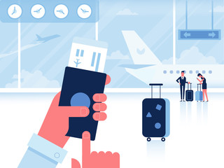 Man with passport and boarding pass waiting flight inside of airport. Infographics elements. Travel Concept. Flat Vector Illustration.