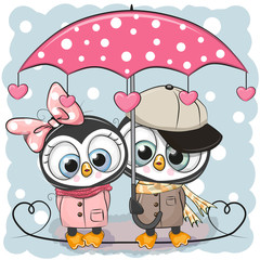 Two Cute Penguins with umbrella under the rain