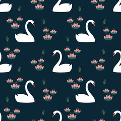 White swans and water lily trendy seamless pattern on dark blue background. Night lake art background. Fashion design for fabric, wallpaper, textile and decor.