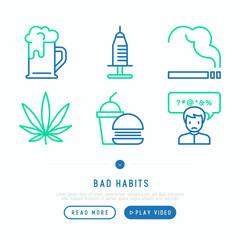Bad habits thin line icons set: abuse, alcoholism, cigarette, marijuana, drugs, fast food, swear words. Modern vector iilustration, web page template.