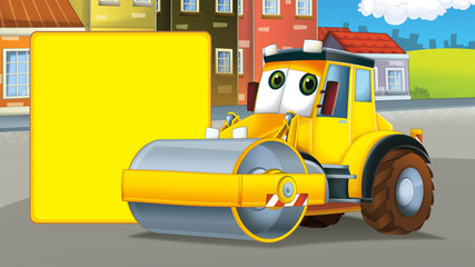 Cartoon road roller truck in the city - with space for text - illustration for children