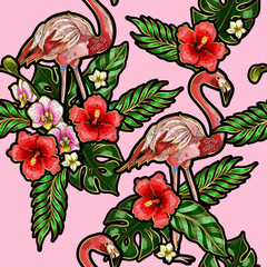 Seamless pattern with flamingo, palm leaves and hibiscus embroidery. Tropical texture for print.