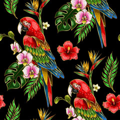 Foto op Canvas Papegaai Seamless pattern with ara parrot, palm leaves and hibiscus embroidery. Tropical texture for print.