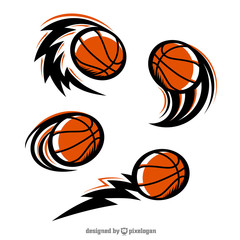 Basketball Swoosh Set of 4 Logo