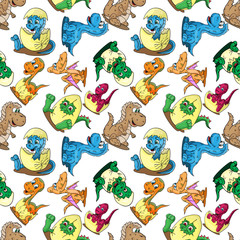 seamless pattern illustration depicting little babies of different dinosaurs in the egg a childs drawing