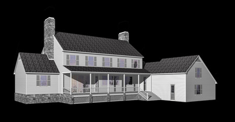 3D House illustration isolated on black