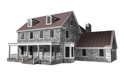 3D House illustration on a white background