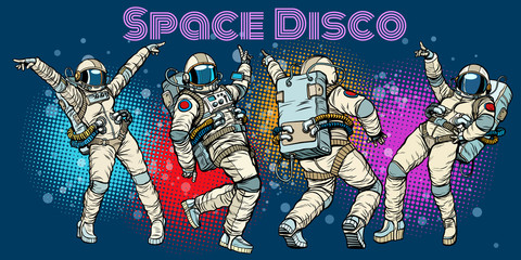 Disco party astronauts dancing men and women