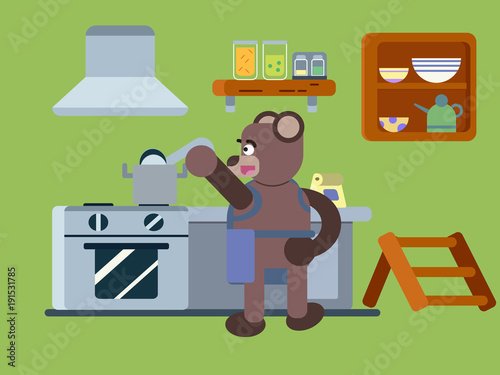 Cartoon Brown Bear Cooking Soup At The Kitchen Flat