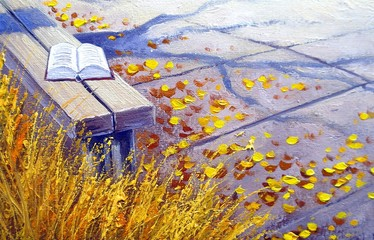 Oil paintings landscape, nature, book, still life
