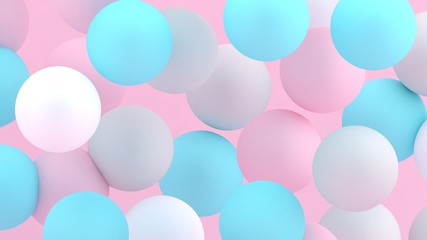 3d bubbles. Spheres background. Abstract wallpaper. Flying geometric shapes. Trendy modern illustration. 3d rendering. Falling abstract balls. Colorful poster backdrop. Minimal style.