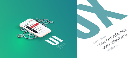 Conceptual banner, booklet, brochure. User experience, user interface. Gear mechanism and 3d phone with a web page layout. Mobile application work