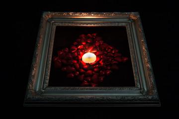Illuminated hearts in frame