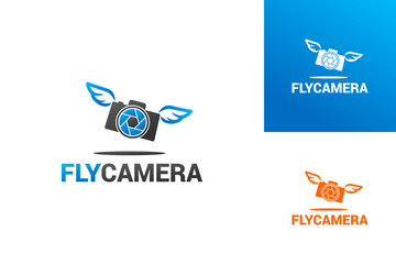 Fly Camera Logo Template Design Vector, Emblem, Design Concept, Creative Symbol, Icon