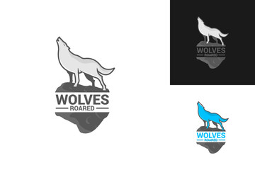 Wolves Roared Logo Template Design Vector, Emblem, Design Concept, Creative Symbol, Icon