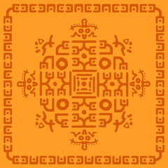 Ethnic Rug, tribal background Mayan symbol, hand draws ornament with geometric symmetrical pattern. Embroidery design for background or wallpaper and clothing. Vector illustration.