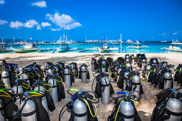 Scuba diving air tanks at White beach on Boracay island, Philippines.