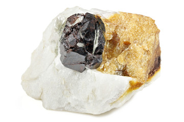 rutile on matrix from Valle Cervo/ Italy isolated on white background