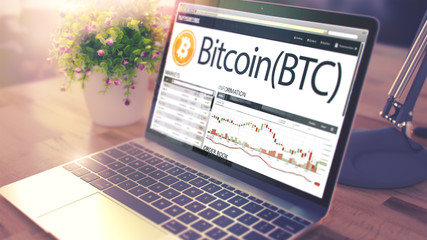 BITCOIN on Laptop Screen. Cryptocurrency Concept. 3D.