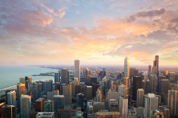 Fototapeten Chicago Chicago skyline at sunset time aerial view, United States