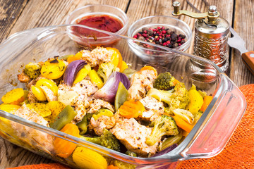Baked vegetables with pieces of meat in the oven