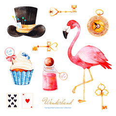 Wonderland collection.Magical watercolor set with cupcake and bottle with label with text,golden keys,playing cards,clock,flamingo and hat.Perfect for wallpaper,print,,invitation,birthday,wedding,logo
