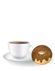 Coffee mug with chocolate donuts, vector