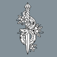 Vector tattoo dagger with snake. Old school