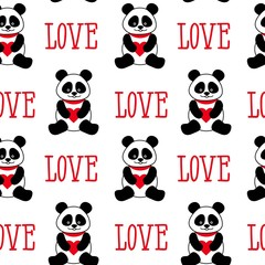 Seamless background with cute pandas and hearts. seamless panda bears and the word love
