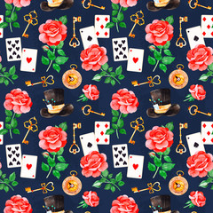 Wonderland seamless texture on dark backgrouns.Magical pattern with lovely roses,playing cards,hat,old clock and golden keys.Perfect for wallpaper,print,packaging design,covering,invitations,wedding