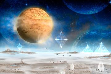 In de dag UFO Planet / Planet landscape in space with alien city, digital retouch.