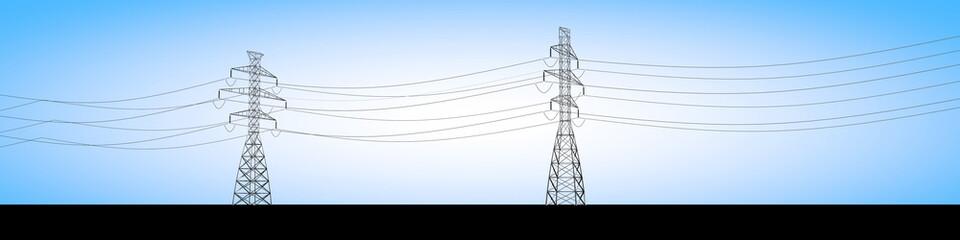 Tralicci elettrici e cavi della corrente elettrica, distribuzione di energia elettrica