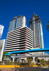 Crown Regency zip line goes between two buildings. Cebu city. Philippines.