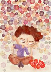 Love concept. Watercolor illustration