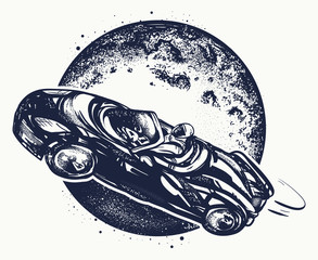 Car in space tattoo and t-shirt design. Symbol of science, travel to Mars, future technologies, dream, imagination. Astronaut drives car through Universe tattoo